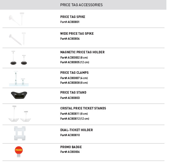 List of Evolis price tags accessories which have passed laboratory tests conducted by TÜV Rheinland ensuring food compliance with European regulation