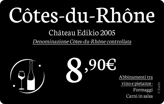 Edikio - Sample price tags for Wine merchants
